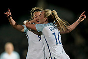 Jodie Taylor (England) (Arsenal) and Toni Duggan (England) (Manchester City) celebrate opening the scoring. A lob by Jodie Taylor (England) (Arsenal) sees England Ladies take the lead. The goal means the home team lead 1-0 during the Women's International Friendly match between England Ladies and Italy Women at Vale Park, Burslem, England on 7 April 2017. Photo by Mark P Doherty.