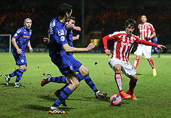 Stoke City's Bojan Krkic is tackled - Photo mandatory by-line: Matt McNulty/JMP - Mobile: 07966 386802 - 26/01/2015 - SPORT - Football - Rochdale - Spotland Stadium - Rochdale v Stoke City - FA Cup Fourth Round