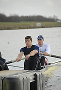 Eton, GREAT BRITAIN,  Tom BROADWAY (bow), and Greg SEARLE (stroke), M2-, power off the Start, GB Trials 3rd Winter assessment at,  Eton Rowing Centre, venue for the 2012 Olympic Rowing Regatta, Trials cut short due to weather conditions forecast for the second day Sunday  13/02/2011   [Photo, Karon Phillips/Intersport-images]