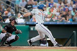 July 7, 2017 - Jupiter, Florida, U.S. - St. Lucie Mets Tim Tebow drives a pitch for a single in the second inning at Roger Dean Stadium in Jupiter, Florida on July 7, 2017. (Credit Image: © Allen Eyestone/The Palm Beach Post via ZUMA Wire)
