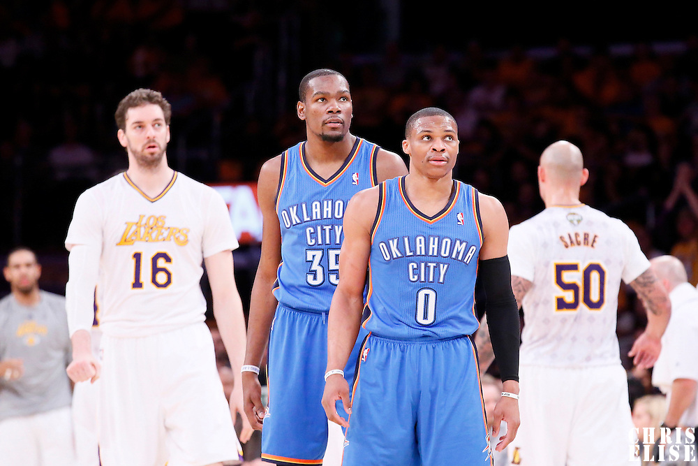 09 March 2014: Oklahoma City Thunder point guard Russell Westbrook (0) and Oklahoma City Thunder small forward Kevin Durant (35) are seen during the Los Angeles Lakers 114-110 victory over the Oklahoma City Thunder at the Staples Center, Los Angeles, California, USA.