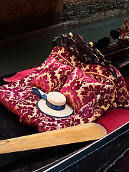 Detail of traditional Gondolier's straw hat in Gondola in Venice Italy