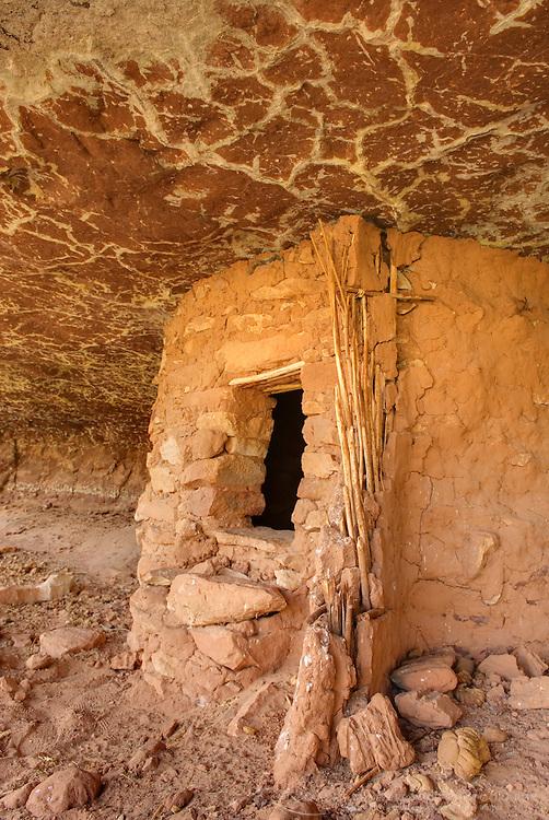Anasazi granaries in Grand Gulch, Cedar Mesa Utah Bears Ears National Monument