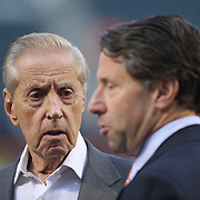 Fred Wilpon, (left), majority owner of the New York Mets and his son Jeff Wilpon at batting practice before the New York Mets Vs Los Angeles Dodgers, game four of the NL Division Series at Citi Field, Queens, New York. USA. 13th October 2015. Photo Tim Clayton