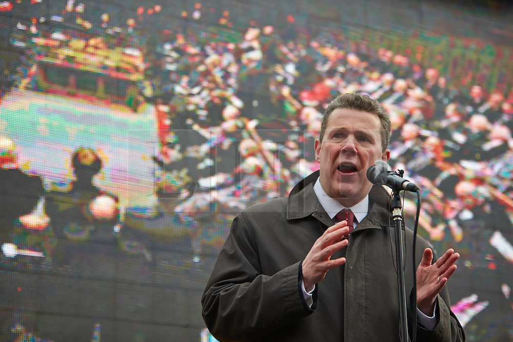 © Licensed to London News Pictures.  20/03/2013. LONDON, UK. Mark Serwotka (pictured), general secretary of the Public and Communication Services (PCS) union, speaks at a rally of his members outside the Houses of Parliament. His union has called a 24 hour strike timed to coincide with the budget announcement today (Wed 20th).  Photo credit :  Cliff Hide/LNP