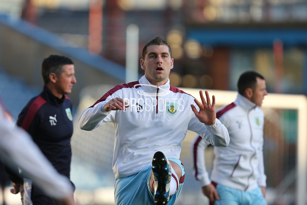 Sam Vokes of Burnley warming up before the Sky Bet Championship match between Burnley and Middlesbrough at Turf Moor, Burnley, England on 19 April 2016. Photo by Simon Brady.