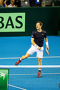 Andy Murray of Great Britain celebrates a break of serve during the 2016 Davis Cup Semi Final between Great Britain and Argentina at the Emirates Arena, Glasgow, United Kingdom on 17 September 2016. Photo by Craig Doyle.