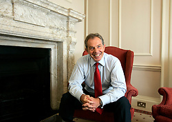 UK ENGLAND LONDON 30JUN05 - British Prime Minister Tony Blair reacts during interview in his study at 10 Downing Street, London. He granted a rare interview to foreign media in support of the London 2012 Olympic bid.<br /> <br /> jre/Photo by Jiri Rezac <br /> <br /> © Jiri Rezac 2005