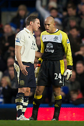 LONDON, ENGLAND - Saturday, December 4, 2010: Everton's goalkeeper Tim Howard and Phil Jagielka look dejected as Chelsea score the opening goal during the Premiership match at Stamford Bridge. (Pic by: David Rawcliffe/Propaganda)