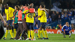 LONDON, ENGLAND - Wednesday, May 6, 2009: Barcelona's Daniel Alves and team-mates celebrate after their dramatic injury time winning away goal knocked Chelsea out during the UEFA Champions League Semi-Final 2nd Leg match at Stamford Bridge. (Photo by Carlo Baroncini/Propaganda)