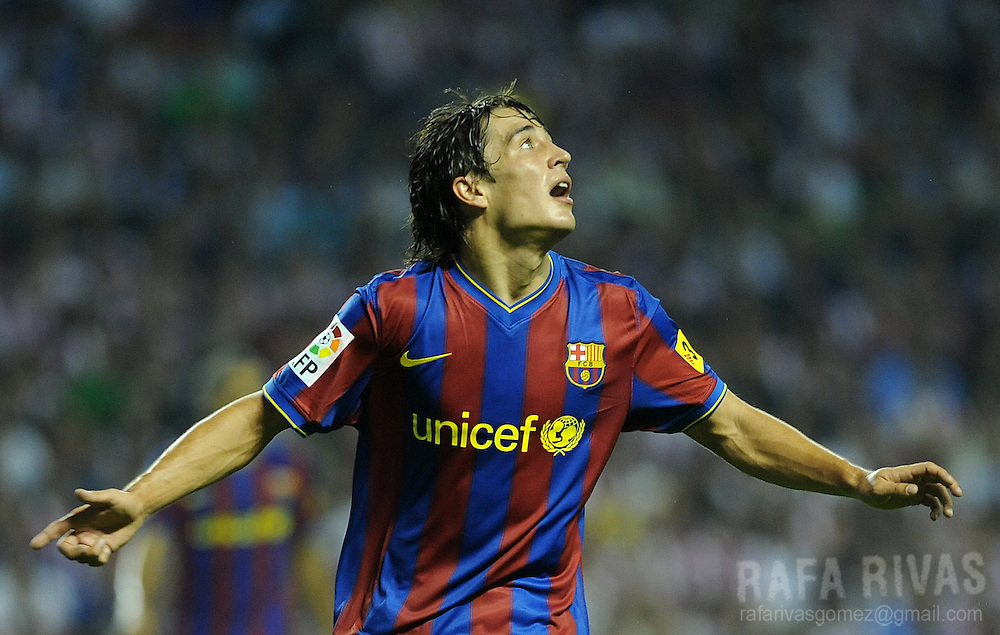 Barcelona's Bojan reacts after missing a goal against Athletic Bilbao during their Spanish Supercup 1st leg football match, on August 16, 2009, at San Mames stadium in Bilbao. PHOTO/Rafa Rivas