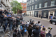 Photographer: Rick Findler<br /> <br /> 08.05.15 London, UK - Prime Minister David Cameron and his wife Samantha Cameron leaves 10 Downing Street in front of the worlds media as they head to Buckingham Palace.