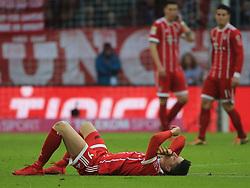 20180121, 1.BL, FC Bayern vs Werder Bremen, Allianz Arena Muenchen, Fussball, Sport, im Bild:...Robert Lewandowski (FCB) am Boden..*Copyright by:  Philippe Ruiz..Postbank Muenchen.IBAN: DE91 7001 0080 0622 5428 08..Oberbrunner Strasse 2.81475 MŸnchen, .Tel: 089 745 82 22, .Mobil: 0177 29 39 408..( MAIL:  philippe_ruiz@gmx.de ) ..Homepage: www.sportpressefoto-ruiz.de. (Credit Image: © Philippe Ruiz/Xinhua via ZUMA Wire)