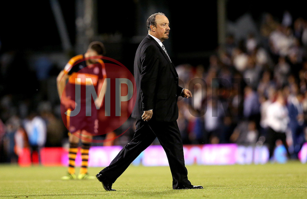 Rafa Benitez manager of Newcastle United looks frustrated after seeing his side lose to Fulham in the opening fixture of the Sky Bet Championship season - Mandatory by-line: Robbie Stephenson/JMP - 05/08/2016 - FOOTBALL - Craven Cottage - Fulham, England - Fulham v Newcastle United - Sky Bet Championship
