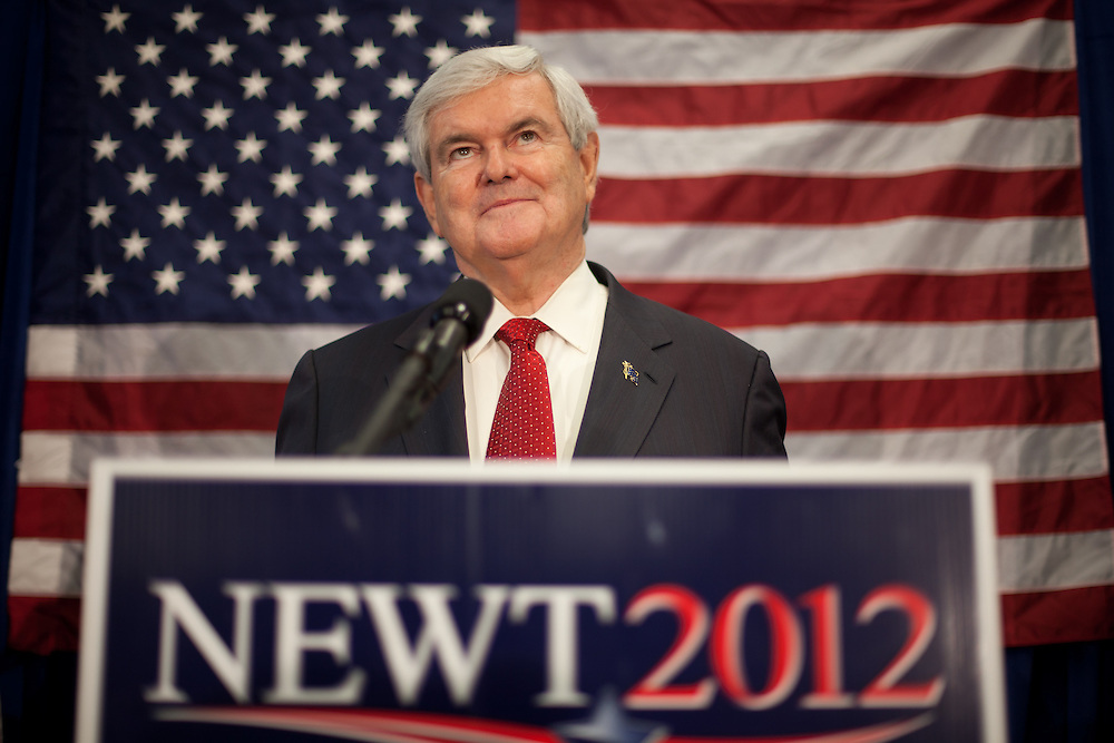 NEWPORT, NH - JANUARY 06:  Republican presidential candidate and former House Speaker Newt Gingrich ponders a question from an  employee at the Ruger Firearms manufacturing facility during a campaign stop there on January 06, 2012 in Newport, New Hampshire. After finishing 4th in the Iowa Caucus, Gingrich continued his campaign in New Hampshire for the upcoming primary. (Photo by Matthew Cavanaugh/Getty Images)