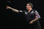 Gary Anderson during the PDC World Darts Championship at The MotorPoint Arena, Cardiff. Pictures taken by Shane Healey.