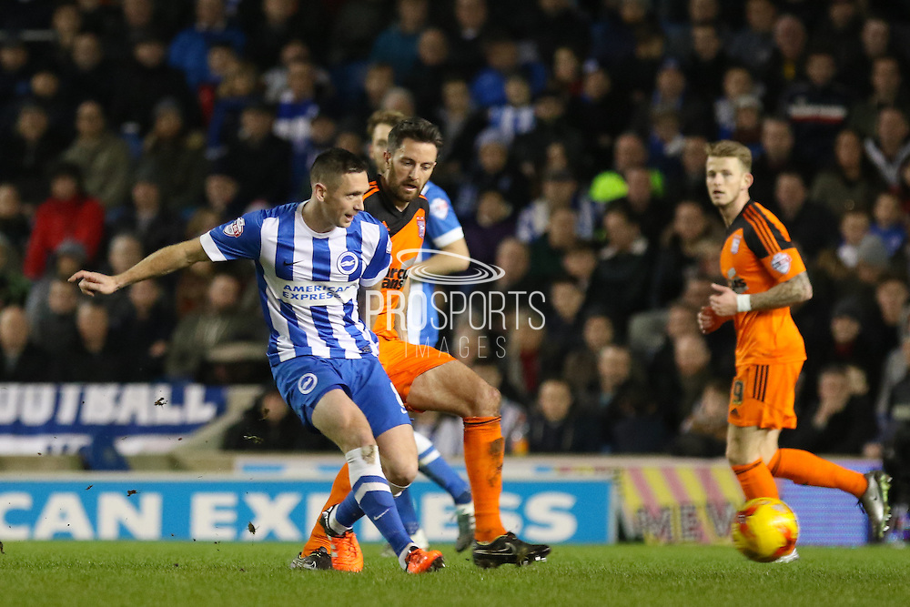 Brighton central midfielder, Andrew Crofts (8) during the Sky Bet Championship match between Brighton and Hove Albion and Ipswich Town at the American Express Community Stadium, Brighton and Hove, England on 29 December 2015. Photo by Phil Duncan.