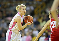 February 16 2011: Iowa Hawkeyes guard Kamille Wahlin (2) with the ball during the first half of an NCAA women's college basketball game at Carver-Hawkeye Arena in Iowa City, Iowa on February 16, 2011. Iowa defeated Wisconsin 59-44.
