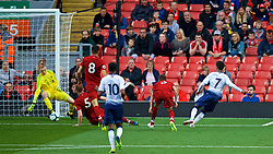 LIVERPOOL, ENGLAND - Friday, August 17, 2018: Tottenham Hotspur's Marcus Edwards scores the equalising goal to level the score 1-1 during the Under-23 FA Premier League 2 Division 1 match between Liverpool FC and Tottenham Hotspur FC at Anfield. (Pic by David Rawcliffe/Propaganda)