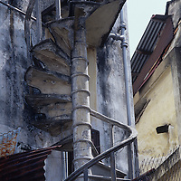 City scene, interesting architecture, spiral stairs