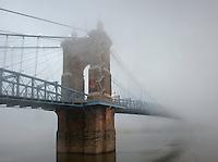 Roebling Suspension Bridge in Fog