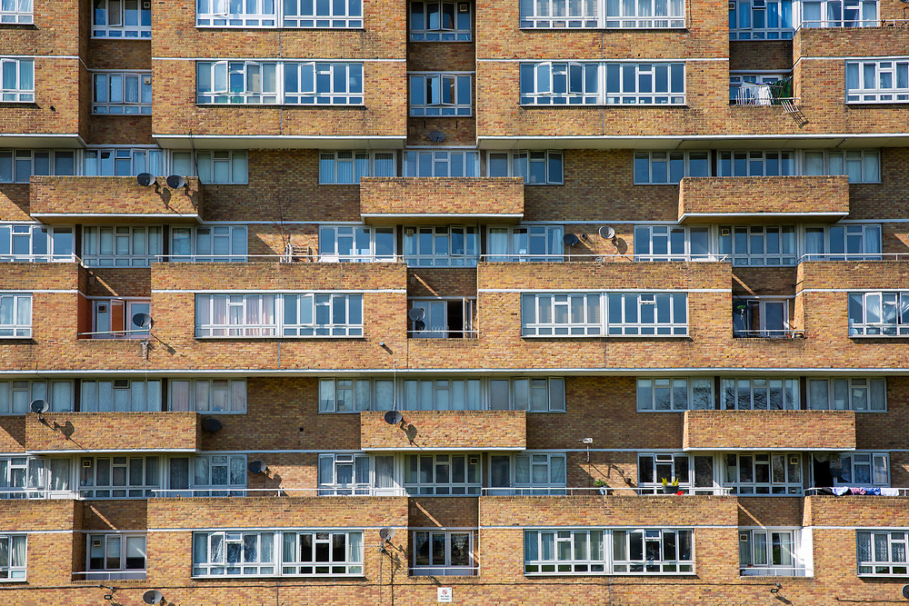 The facade of Dawson's Heights, Dulwich, London, United Kingdom. Built between 1968 and 1972, Dawson's Heights was designed by Kate Macintosh as part of the social housing project to clear out London's slums. It is known as the 'Italian hill town in Dulwich'. (photo by Andrew Aitchison / In pictures via Getty Images)