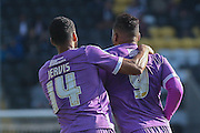 Plymouth Argyle forward Jake Jervis celebrates with Plymouth Argyle forward Reuben Reid after scoring during the Sky Bet League 2 match between Notts County and Plymouth Argyle at Meadow Lane, Nottingham, England on 11 October 2015. Photo by Simon Davies.