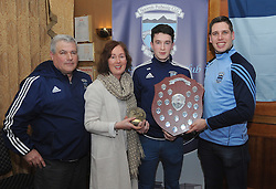 Lee Keegan presented Westport Minor Player of the Year Award to Mark Reilly pictured with his mum Irene and team manager Tim Kennedy.<br /> Pic Conor McKeown