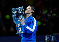 Tennis - 2019 Nitto ATP Finals at The O2 - Day Six<br /> <br /> Singles Group Andre Agassi: Rafael Nadal (Spain) Vs. Stefanos Tsitsipas (Greece)<br /> <br /> Rafael Nadal (Spain) closes his eyes and takes in the moment as he receives his ATP World No. 1 trophy <br /> <br /> COLORSPORT/DANIEL BEARHAM<br /> <br /> COLORSPORT/DANIEL BEARHAM
