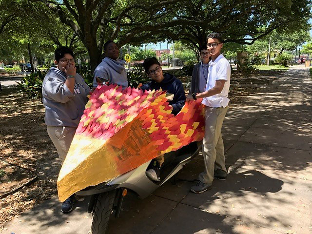 """This 2007 Yamaha Morphous 250cc scooter named """"The Morphoenix"""" was designed by Hamilton Middle School eighth-grader Luis Morales and transformed by Ms. Hernandez's seventh- and eight-grade art classes."""
