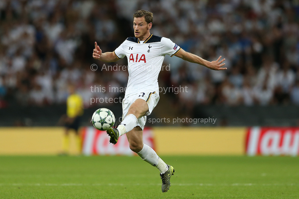 Jan Vertonghen of Tottenham Hotspur in action. UEFA Champions league match, group E, Tottenham Hotspur v AS Monaco at Wembley Stadium in London on Wednesday 14th September 2016.<br /> pic by John Patrick Fletcher, Andrew Orchard sports photography.
