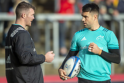 December 9, 2018 - Limerick, Ireland - Peter O'Mahony and Conor Murray of Munster talk each other during the Heineken Champions Cup Round 3 match between Munster Rugby and Castres Qlympique at Thomond Park Stadium in Limerick, Ireland on December 9, 2018  (Credit Image: © Andrew Surma/NurPhoto via ZUMA Press)