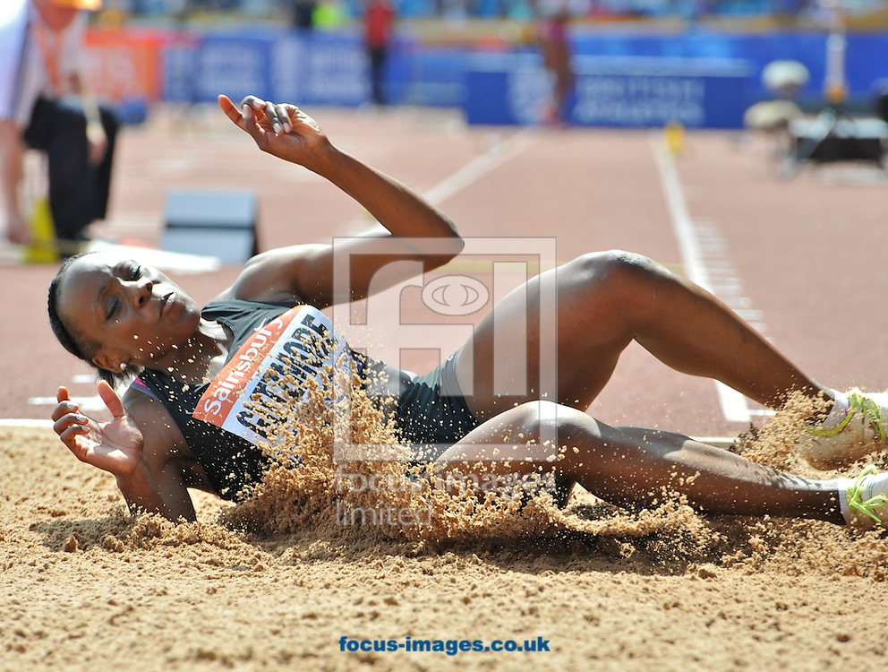 Picture by Alan Stanford/Focus Images Ltd +44 7915 056117<br /> 12/07/2013<br /> Sineade Gutzmore (GBR) Triple jump pictured during day two of Sainsbury's British Championship at Alexander Stadium, Birmingham.