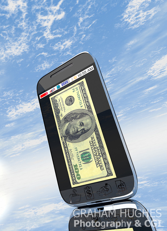 Mobile phone with 100 Dollar bill on screen.
