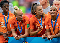 07-07-2019 FRA: Final USA - Netherlands, Lyon<br /> FIFA Women's World Cup France final match between United States of America and Netherlands at Parc Olympique Lyonnais. USA won 2-0 / Liza van der Most #22 of the Netherlands, Danique Kerkdijk #18 of the Netherlands, Lieke Martens #11 of the Netherlands, Shanice van de Sanden #7 of the Netherlands