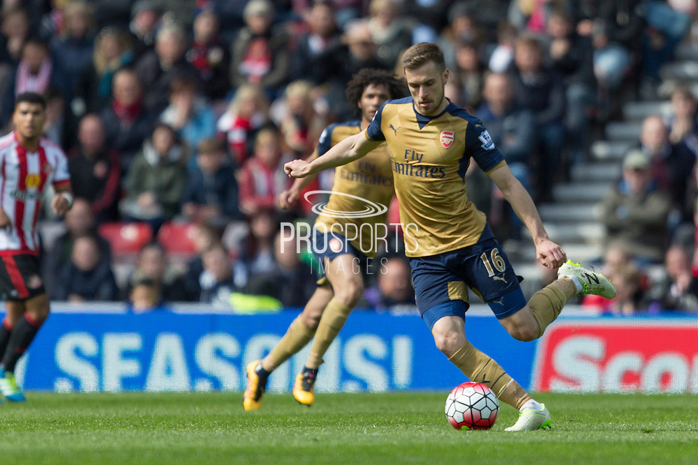 Arsenal midfielder Aaron Ramsey (16) in action during the Barclays Premier League match between Sunderland and Arsenal at the Stadium Of Light, Sunderland, England on 24 April 2016. Photo by George Ledger.
