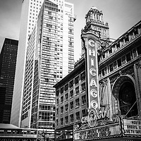 Chicago Theatre black and white picture along State Street in downtown Chicago. The Chicago Theater is a popular venue for concerts and stage performances and is a landmark listed with the National Register of Historic Places.