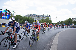 Doris Schweizer (SUI) of Cylance Pro Cycling rides around the Arc de Triomphe during the La Course, a 89 km road race in Paris on July 24, 2016 in France.