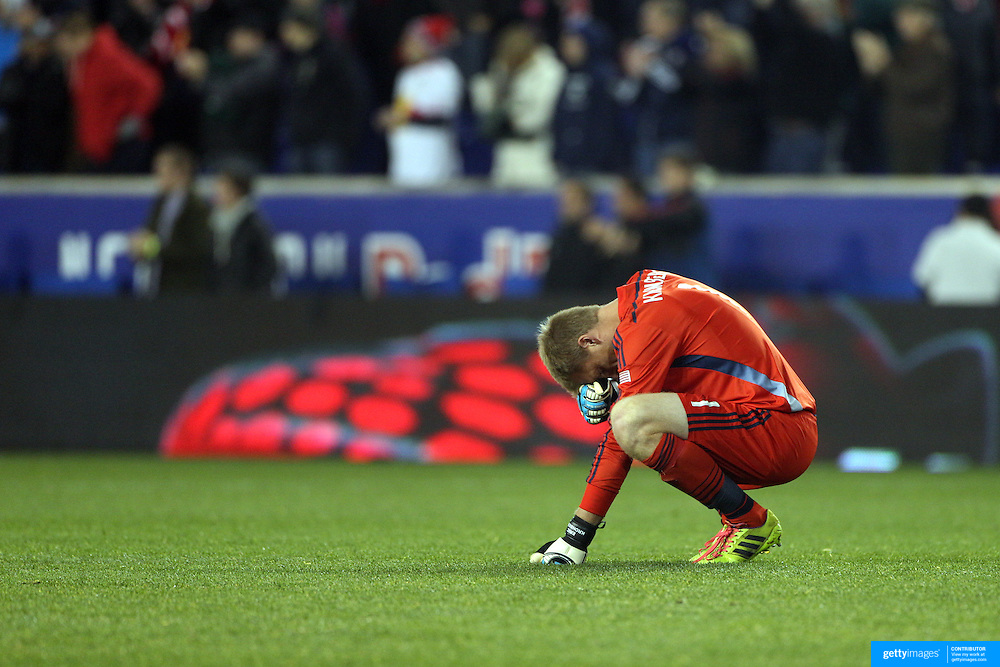 Goalkeeper Eric Kronberg, Sporting Kansas City reacts to his sides 2-1 loss at the final whistle after the New York Red Bulls V Sporting Kansas City, Major League Soccer Play Off Match at Red Bull Arena, Harrison, New Jersey. USA. 30th October 2014. Photo Tim Clayton