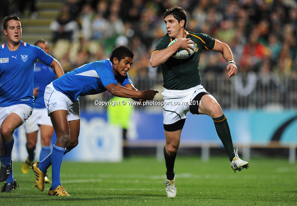 South African centre Jaque Fourie during the Pool D, South Africa v Namibia match at the IRB Rugby World Cup 2011. North Harbour Stadium, Auckland. Thursday 22 September 2011.  Photo: Andrew Cornaga / photosport.co.nz