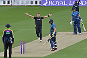 Sam Curran (Surrey) appeals for LBW during the Royal London 1 Day Cup match between Surrey County Cricket Club and Kent County Cricket Club at the Kia Oval, Kennington, United Kingdom on 12 May 2017. Photo by Jon Bromley.