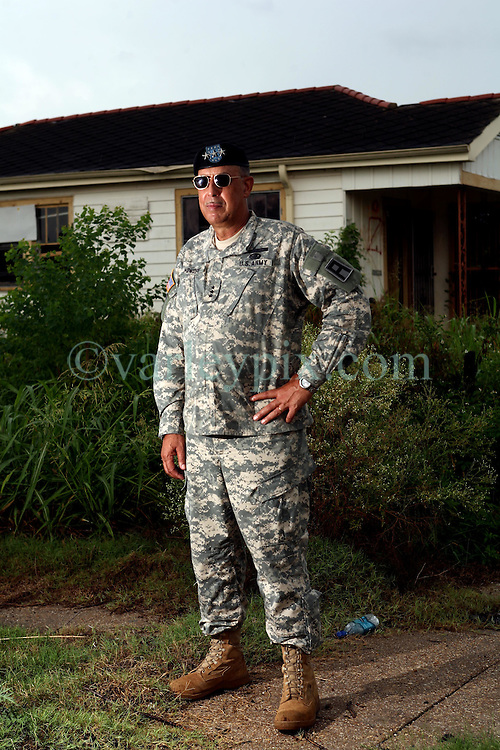 29 August  2007. Lower 9th Ward, New Orleans, Louisiana. <br /> Lieutenant General Russel L. Honore, the army commander who came to New Orleans and took charge during the darkest days following the devastation of Hurricane Katrina. Honore revisits the mainly deserted, still decimated Lower 9th Ward on the Second anniversary of Hurricane Katrina. The area remains mostly abandoned and overgrown with grass growing in the streets. President Bush came to town and claimed he could be proud of what local and federal government have achieved in the city. Yet two years after the storm, it is quite clear that local and federal government are failing and have a great deal to do to live up their promises.<br /> Photo credit©; Charlie Varley/varleypix.com