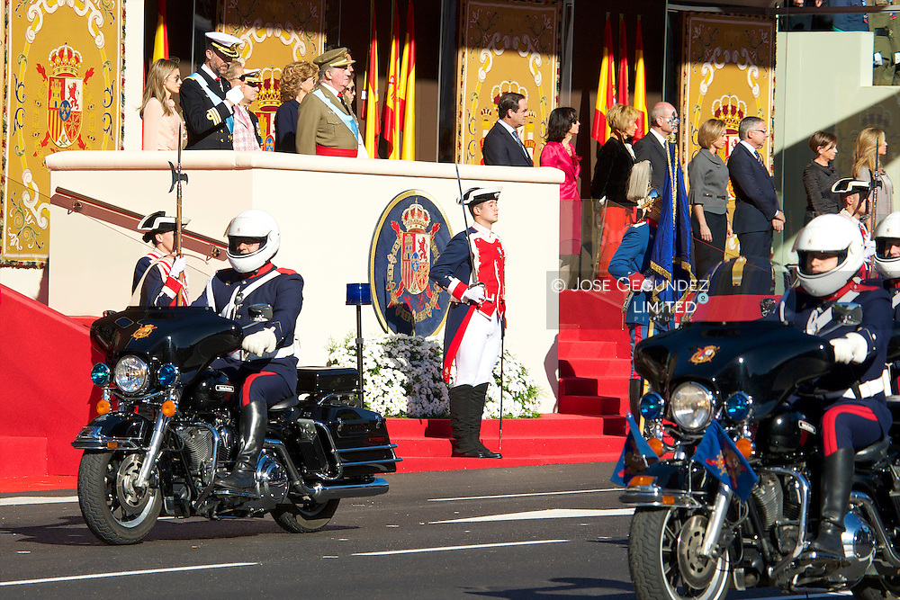 Spanish King Juan Carlos, Queen Sofia, Princes Felipe, Princess Letizia, Princess Elena, Princess Cristina and Inaqui Urdangarin attend the Military parade during Spanish National Day on October 12, 2010 in Madrid