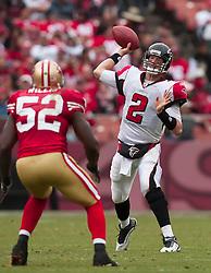 October 11, 2009; San Francisco, CA, USA;  Atlanta Falcons quarterback Matt Ryan (2) throws over San Francisco 49ers linebacker Patrick Willis (52) in the fourth quarter at Candlestick Park. Atlanta won 45-10.