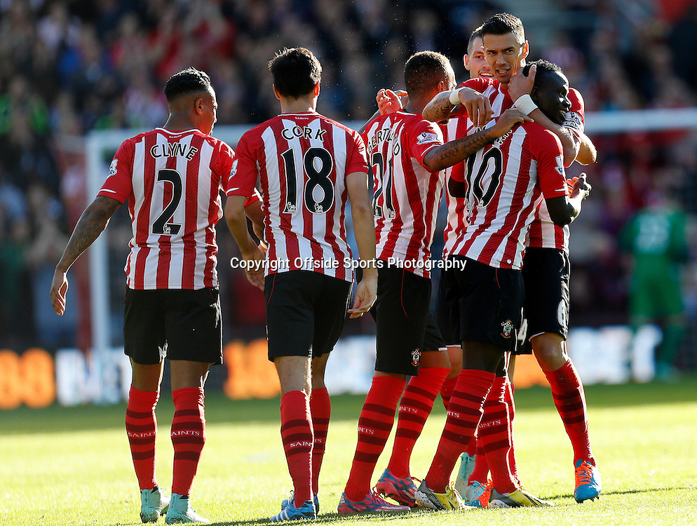 25th October 2014 - Barclays Premier League - Southampton v Stoke City - Saido Mane of Southampton celebrates after scoring his goal (1-0)  - Photo: Paul Roberts / Offside.