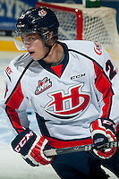 KELOWNA, CANADA - OCTOBER 11: Carter Amson #25 of Lethbridge Hurricanes warms up against the Kelowna Rockets on October 11, 2014 at Prospera Place in Kelowna, British Columbia, Canada.   (Photo by Marissa Baecker/Shoot the Breeze)  *** Local Caption *** Carter Amson;