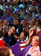 Delegates sing and wave flags during the fourth of July celebration during the 14th annual NEA annual meeting at the Walter E. Washington Convention Center July 4,2008. (Scott Iskowitz/ RA TODAY) 2008