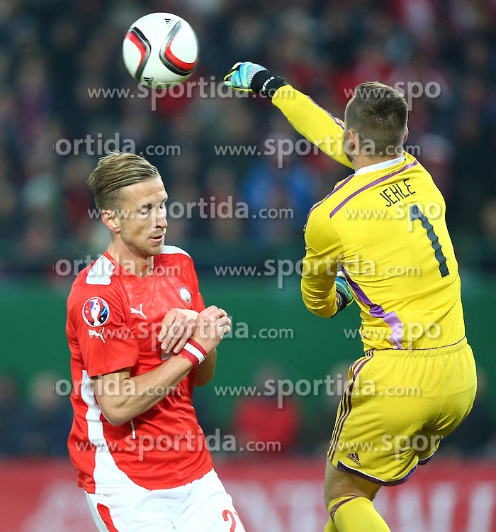 12.10.2015, Ernst Happel Stadion, Wien, AUT, UEFA Euro 2016 Qualifikation, Oesterreich vs Liechtenstein, Gruppe G, im Bild Marc Janko (AUT) und Peter Jehle (LIE) // during the UEFA EURO 2016 qualifier group G between Austria and Liechtenstein at the Ernst Happel Stadion, Vienna, Austria on 2015/10/12. EXPA Pictures © 2015, PhotoCredit: EXPA/ Thomas Haumer