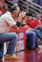 22 February 2017:  Dennis Banks works on the grip and grin during a College MVC (Missouri Valley conference) mens basketball game between the Southern Illinois Salukis and Illinois State Redbirds in  Redbird Arena, Normal IL