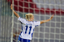 LLANELLI, WALES - Thursday, August 22, 2013: Finland's Adelina Engman celebrates scoring a late winning goal against Norway during the Group B match of the UEFA Women's Under-19 Championship Wales 2013 tournament at Parc y Scarlets. (Pic by David Rawcliffe/Propaganda)